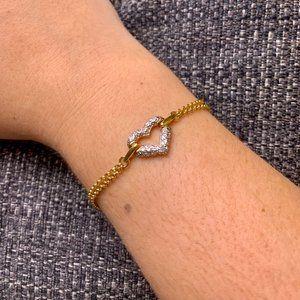 Jewelry - Gold Tone Double Chain Heart Pendant Bracelet